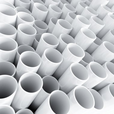White plastic tube as technological background