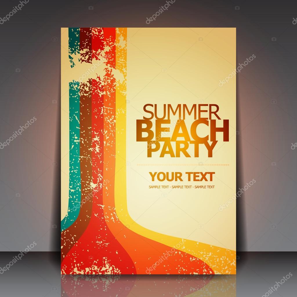 Summer Beach Retro Party Flyer EPS10 Vector Design