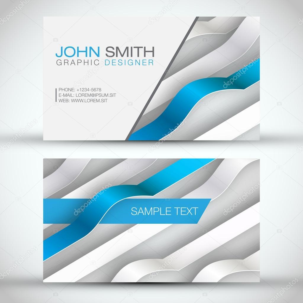 3d business cards | Blue Modern 3D Lines Business-Card Set ...