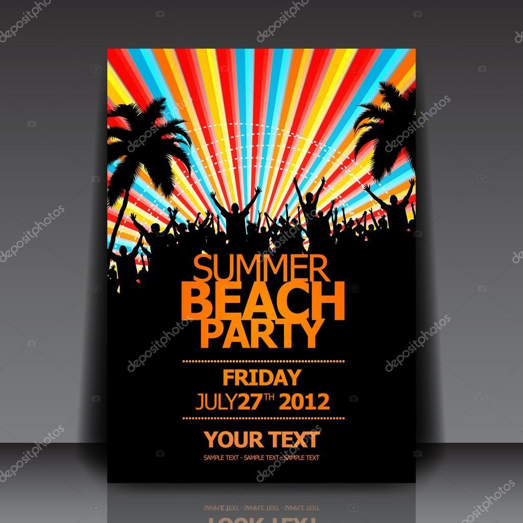 Sommer Strand Party flyer — Stockvektor © hunthomas #20991777