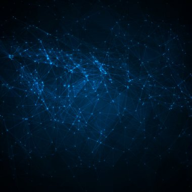 Abstract network blue on dark vector background