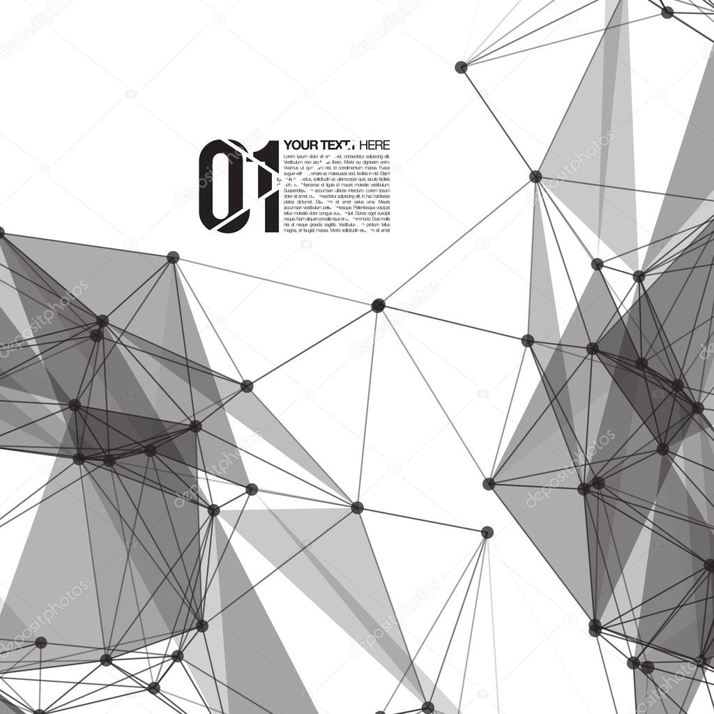 3D Black and White Abstract Mesh Background