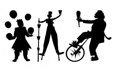 Circus Artist Silhouette on white background