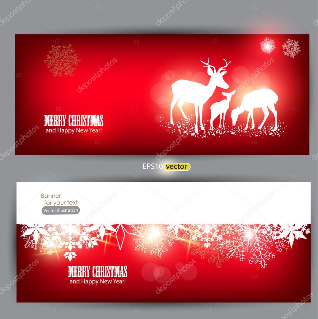 Elegant Christmas banners with deers