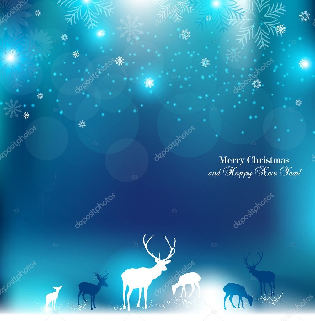 Beautiful Christmas background with reindeer and place for text.
