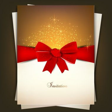Greeting card with red bow and copy space. Vector illustration clip art vector