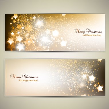 Set of Elegant Christmas banners with stars. Vector illustration stock vector