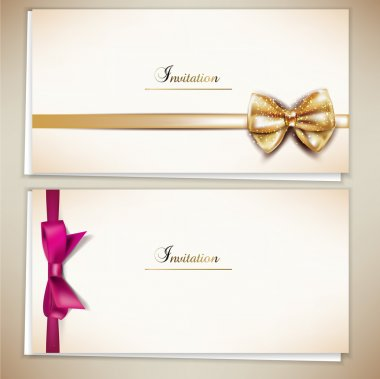 Collection of gift cards and invitations with ribbons. Vector ba
