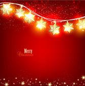 Fényképek Piros karácsonyi háttér fényes garland. Vektor Illustra-hoz
