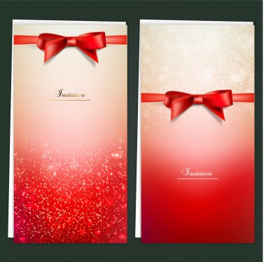 Elegant greeting cards with red bows and copy space. Vector illu
