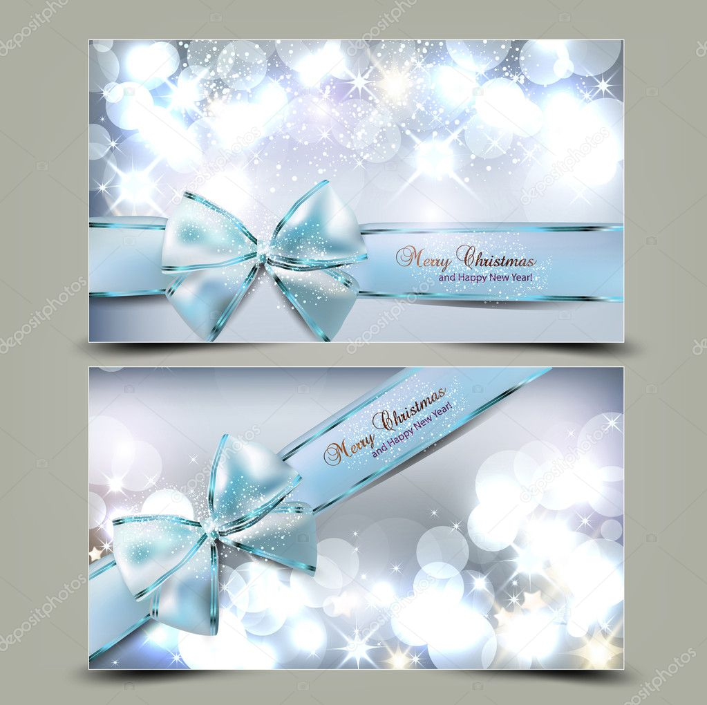 elegant christmas greeting cards with blue bows and place for te stock vector - Elegant Christmas Cards