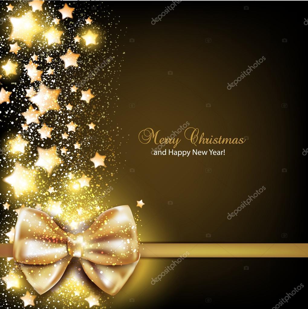 Sfondi Natalizi Eleganti.Elegante Sfondo Di Natale Con Fiocco Dorato Sfondo Vettoriale