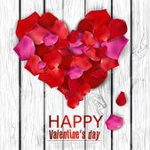Fotografia bellissimo cuore fatto da petali di rosa sulla struttura in legno. Vector