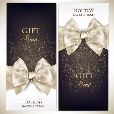 Gorgeous gift cards with white bows and copy space. Vector illus