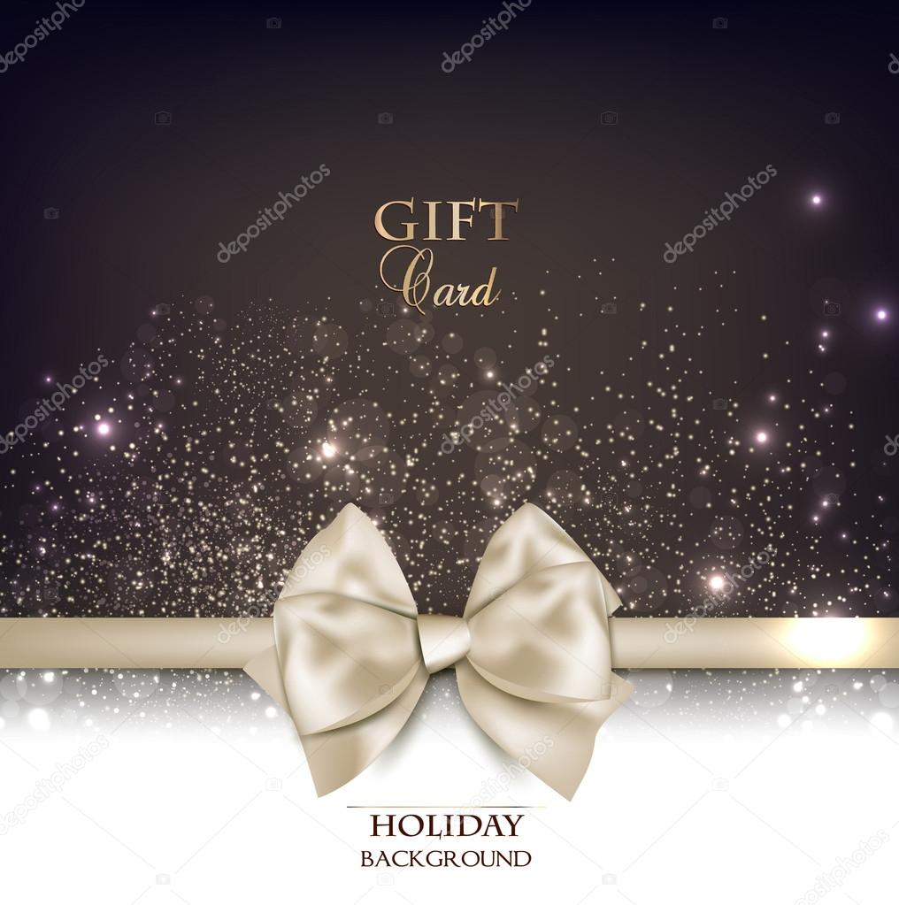 Gorgeous gift card with white bow and copy space. Vector illustr