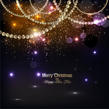Elegant christmas background with golden garland.