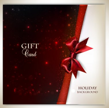 Elegant holiday background with red bow and place for text. Vect
