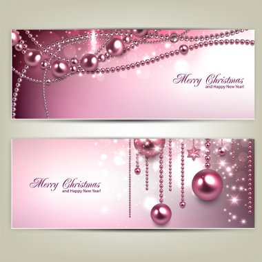 Set of Elegant Christmas banners with baubles and stars. Vector