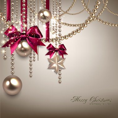 Elegant Christmas background with red ribbons and golden garland