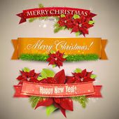 Photo Set of Ribbons, Labels, Tags Merry Christmas and Happy New Year !