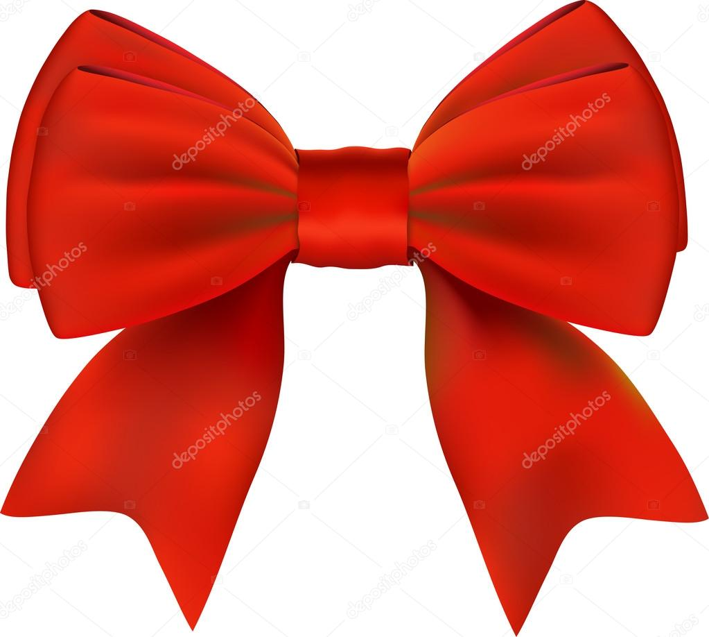 Red Bow. Isolated On White Background