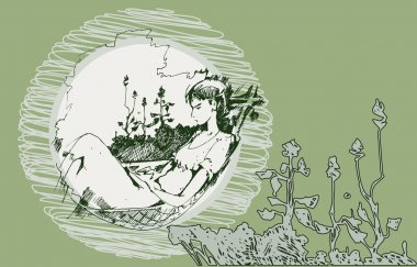 Sketch of a girl in a hammock
