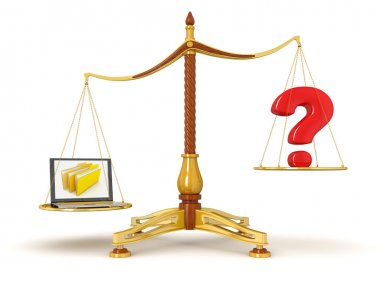Justice scale with laptop and question mark