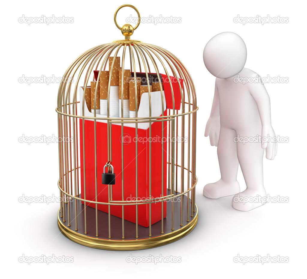 Cigaretta és ember arany ketrec — Stock Fotó © panama555  31776419 32f04f11aa