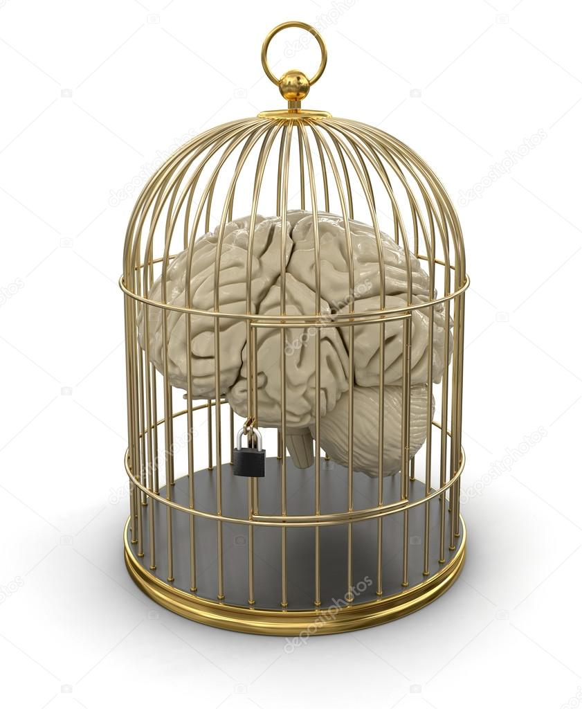 Gold Cage with Human brain