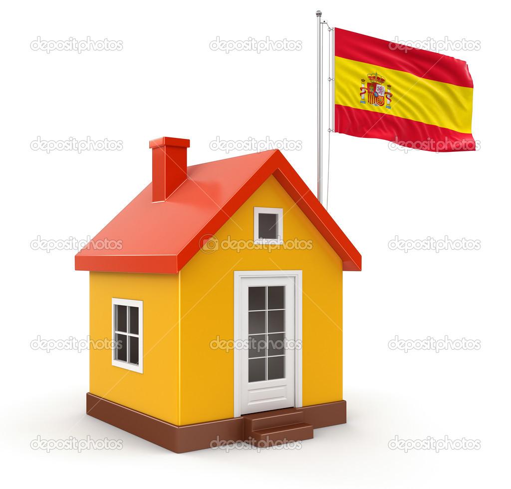 spanish flag and house u2014 stock photo panama555 31778725