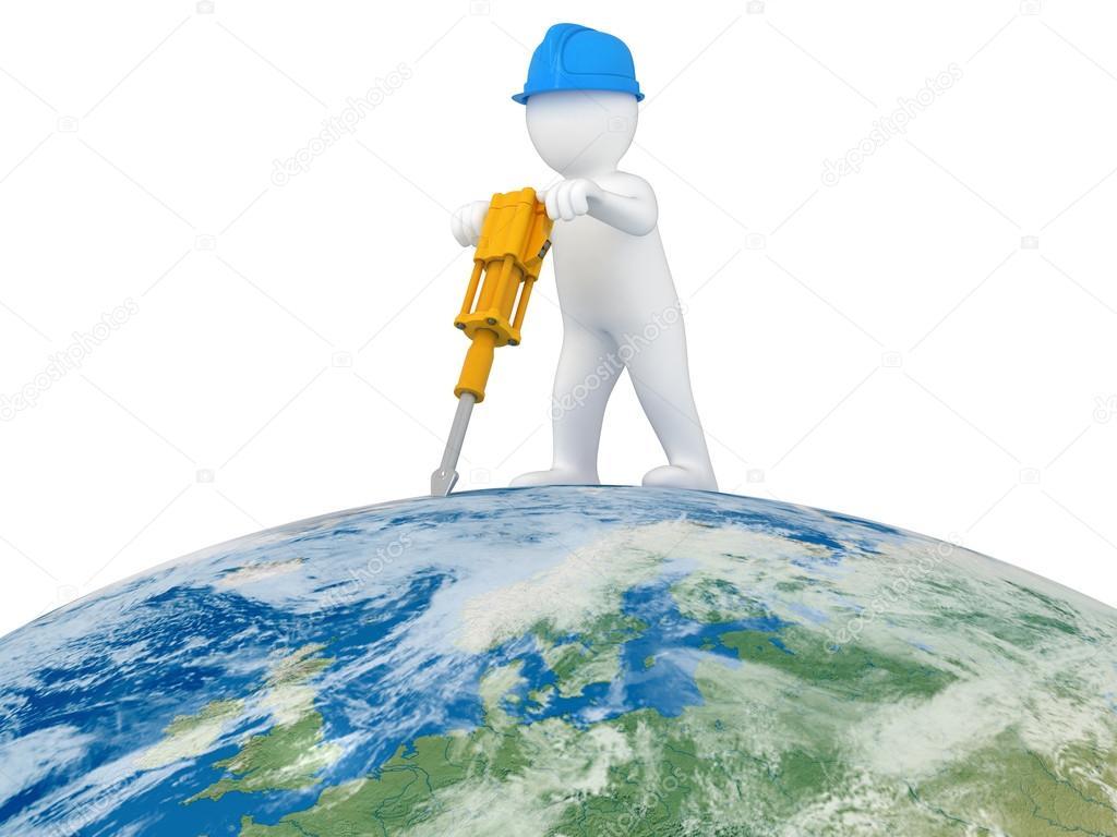 World Worker with jackhammer