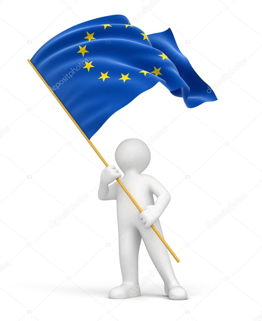 3d people and euro flag