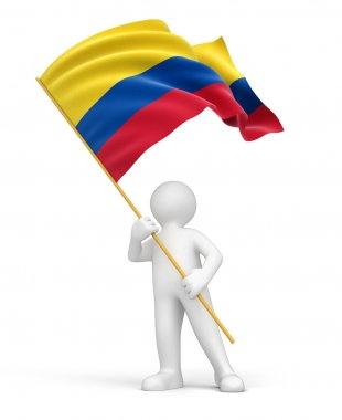 Man and flag of Colombia