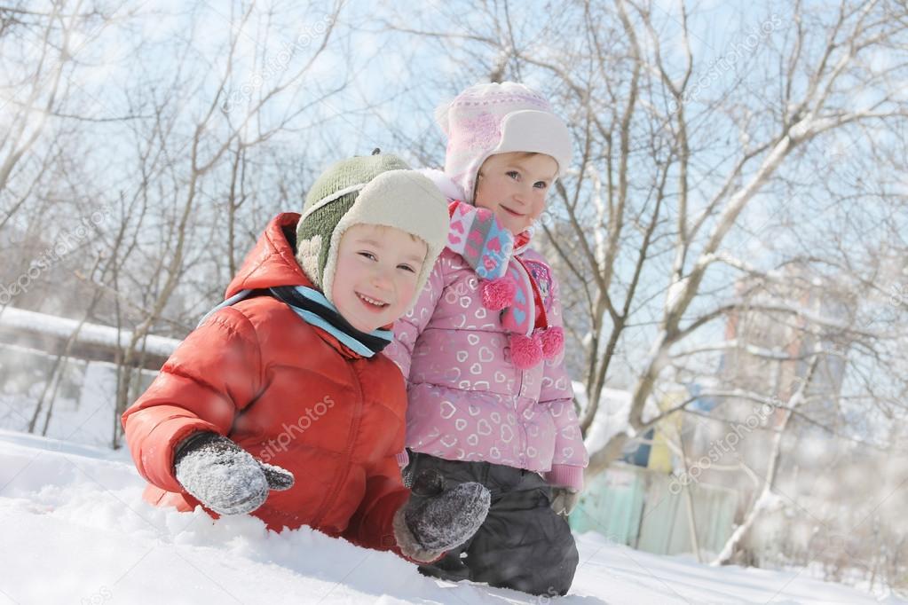 Children having fun in snow