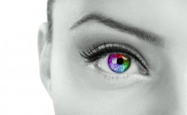 Beautiful colorful eye - rainbow color , close up stock vector