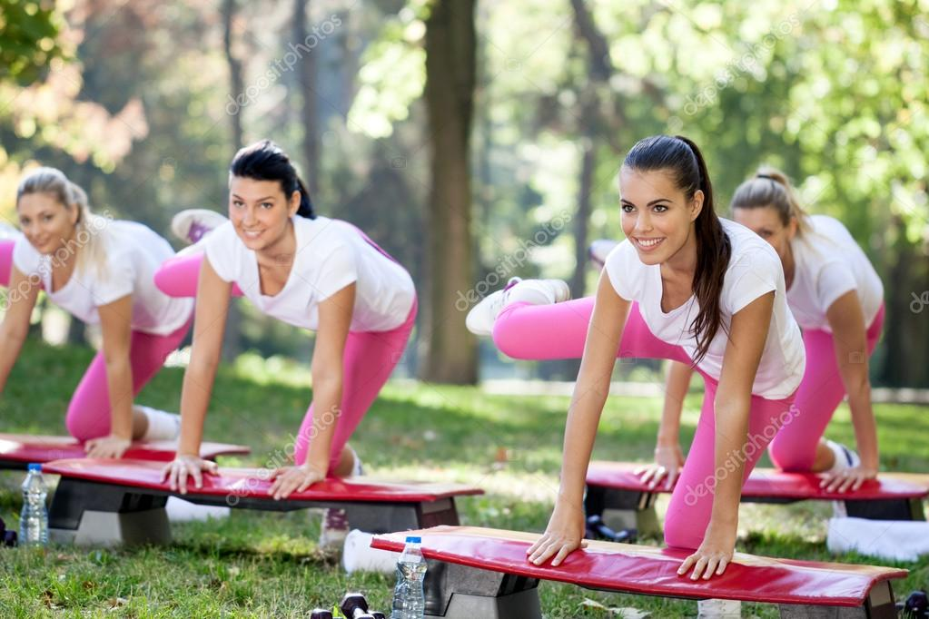 Group of aerobic women