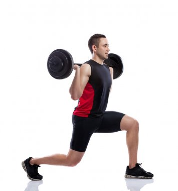 Young man weights training