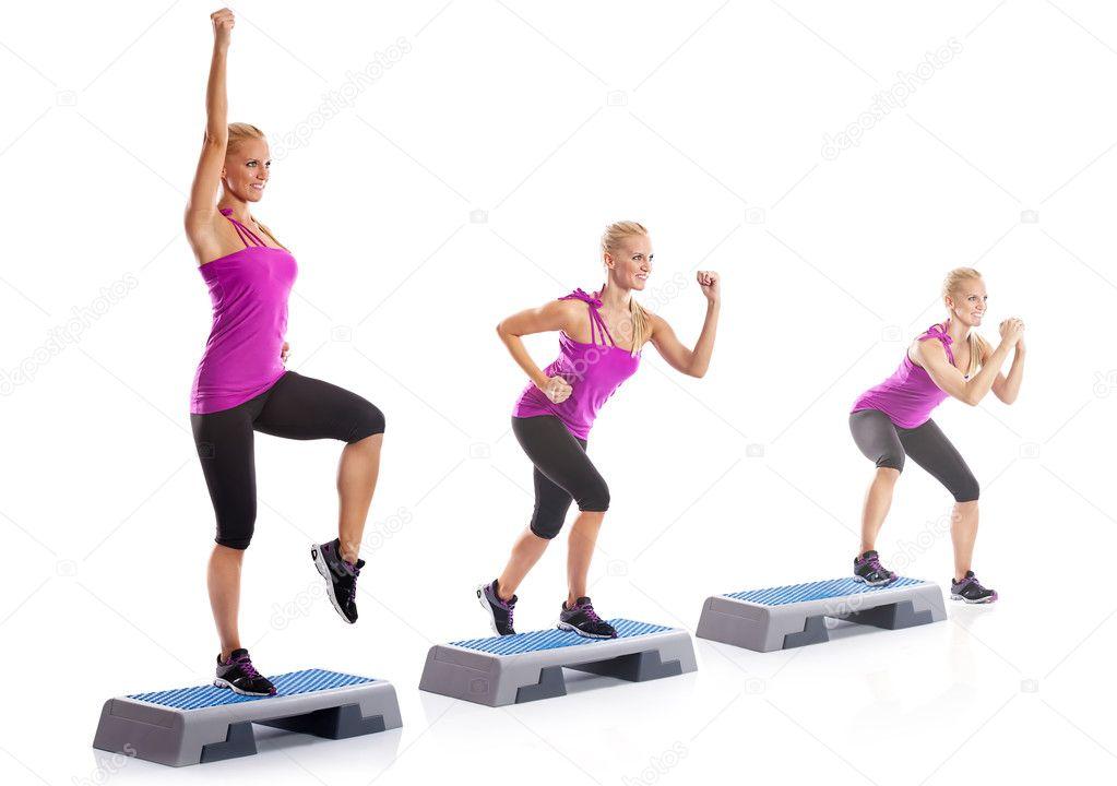 woman step aerobics exercise