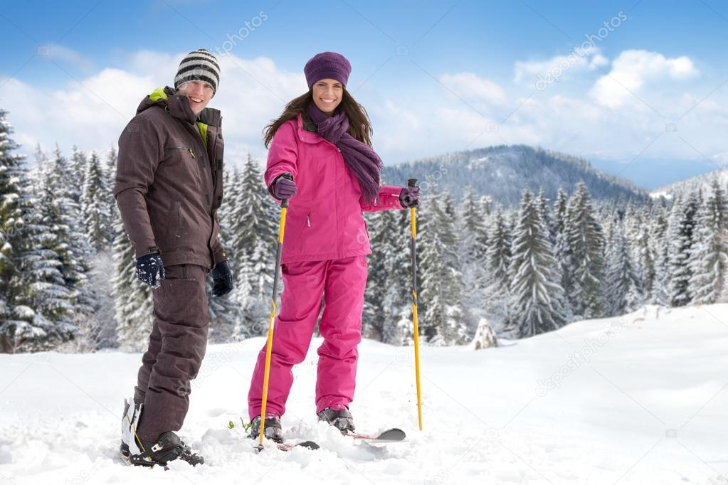 Couple skiers