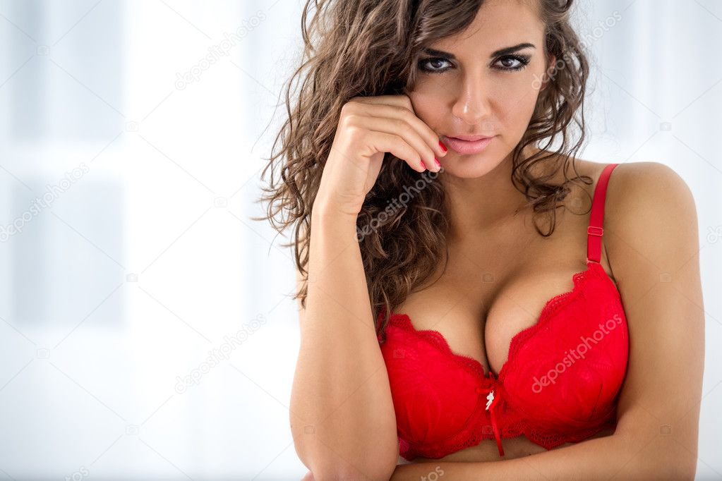 Sexy woman in red bra