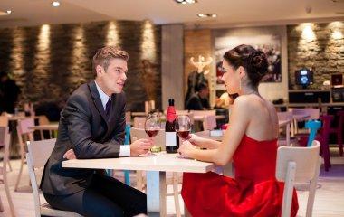 Couple enjoying at the restaurant