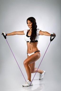 Attractive woman elastic band