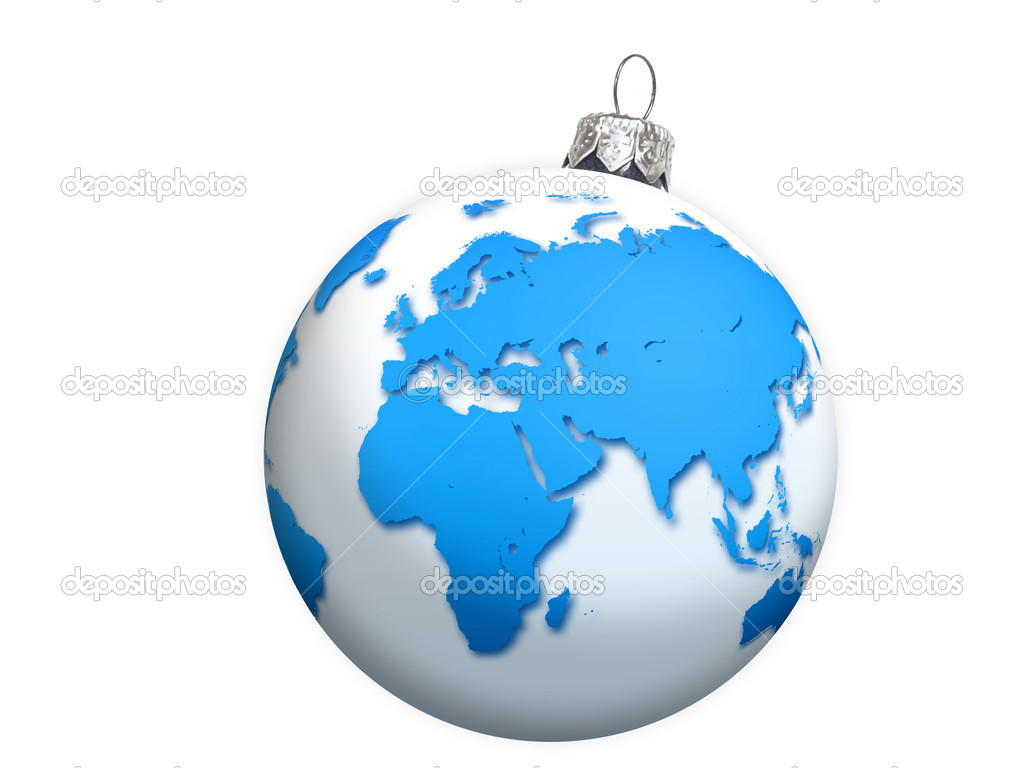 World globe christmas ornaments - Globe Christmas Balls Stock Photo 34671153