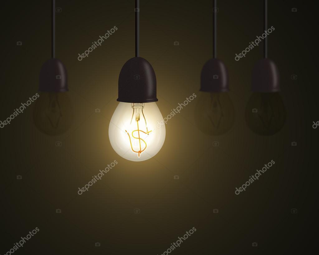 Beleuchtung Lampe Mit Geld Symbol Innen Und Unlighting Andere In Dunklen  Raum, Idee Ist Geld Konzept U2014 Foto Von Bruesw