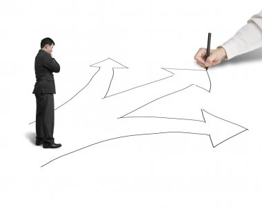 Businessman drawing 3 ways on white background, another thinking