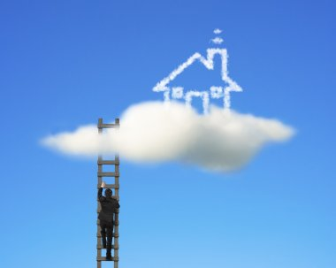 Businessman climbing on wooden ladder to reach cloud house