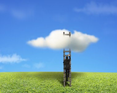 Businessman climbing on wooden ladder to reach cloud