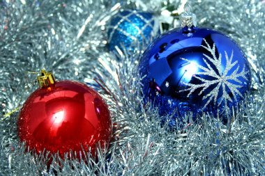Two New Year's glass spheres of blue and red color
