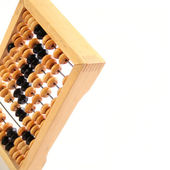 An old mathematical abacus on a white background