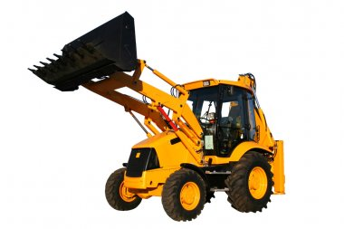 The new universal bulldozer with the lifted bucket